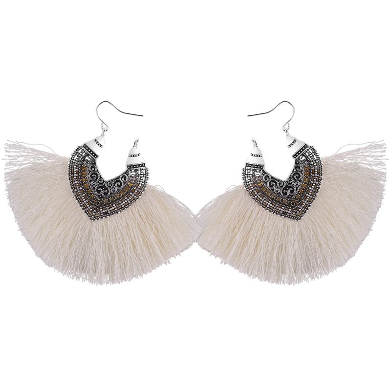 Korean Retro Half Heart Silk Tassel Earrings (White) NHNPS4479