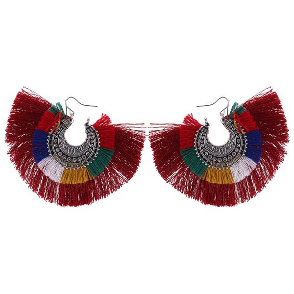 Europe and America retro exaggerated semi-circle silk tassel earrings (red) NHNPS4480