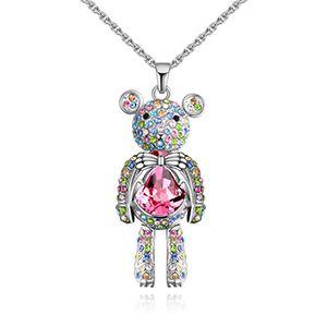 Austria Imitated crystal Necklace - Barbie Bear (Color + Rose) NHKSE28611
