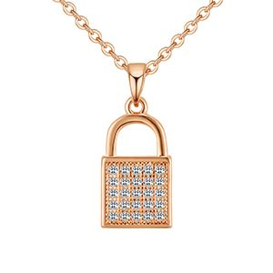 AAA microinlaid zircon necklace  mini lock champagne alloy NHKSE28607
