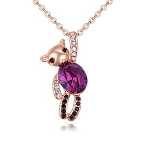 Austria Imitated crystal Necklace - Winnie the Pooh (Rose Alloy + Purple) NHKSE28572
