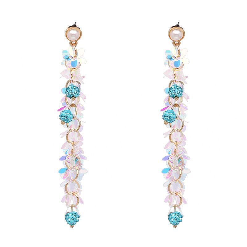Plastic Korea Flowers earring  blue NHJJ4955blue