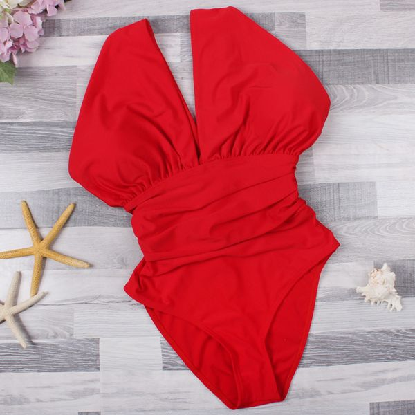 Polyester Fashion  Large size swimsuit  (Red-S) NHHL0437-Red-S