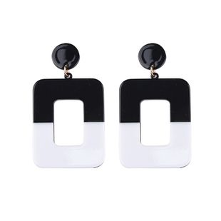 Plastic Fashion Geometric earring  (A black + white) NHJQ10482-A-black-white's discount tags