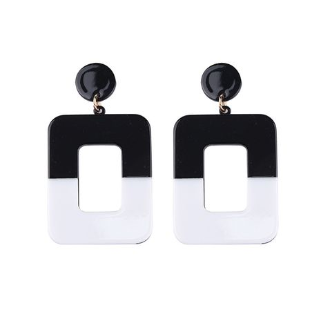 Plastic Fashion Geometric earring  (A black + white) NHJQ10482-A-black-white's discount tags