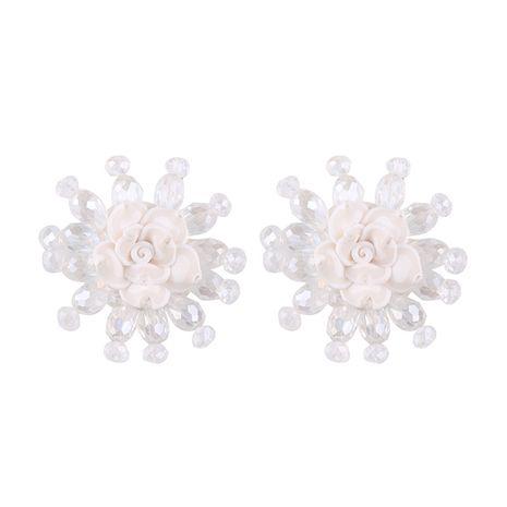 Plastic Korea Flowers earring  (white) NHJQ10487-white's discount tags
