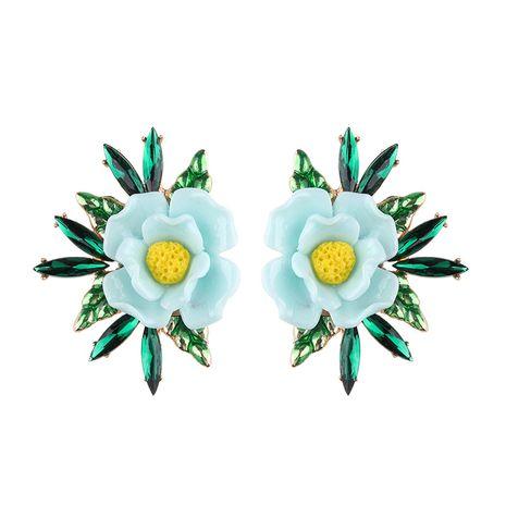 Plastic Korea Flowers earring  (sky blue) NHJQ10492-sky-blue's discount tags