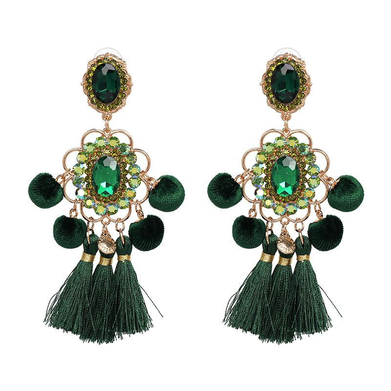 Alloy Fashion Geometric earring  (green) NHJJ4965-green