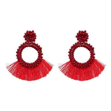 Imitated crystal&CZ Fashion Geometric earring  (red) NHJJ4966-red's discount tags