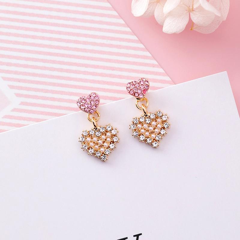 Alloy Korea Sweetheart earring  (J4415 love pink rhinestone) NHMS0547-J4415-love-pink-rhinestone