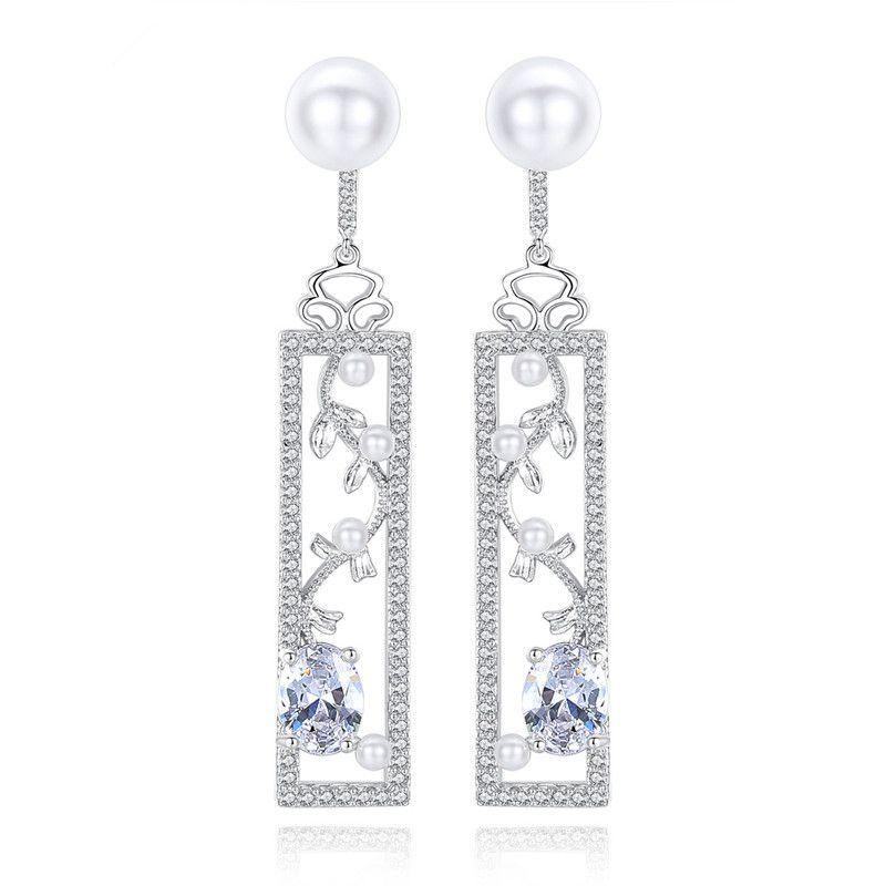 Alloy Fashion Geometric earring  (Platinum-07G14) NHTM0216-Platinum-07G14