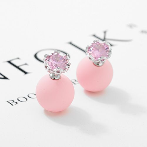 Alloy Korea Geometric earring  (Light pink beads + platinum) NHTM0250-Light-pink-beads-platinum