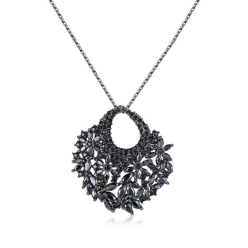 Alloy Fashion Geometric necklace  (White zirconium plating gun black) NHTM0257-White-zirconium-plating-gun-black