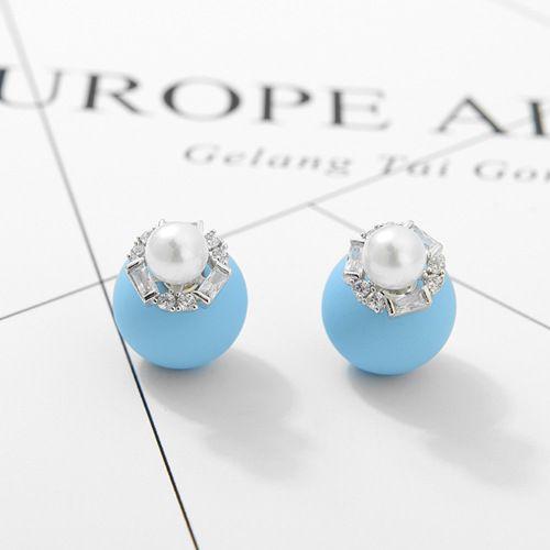 Alloy Korea Geometric earring  (Light blue + platinum) NHTM0267-Light-blue-platinum