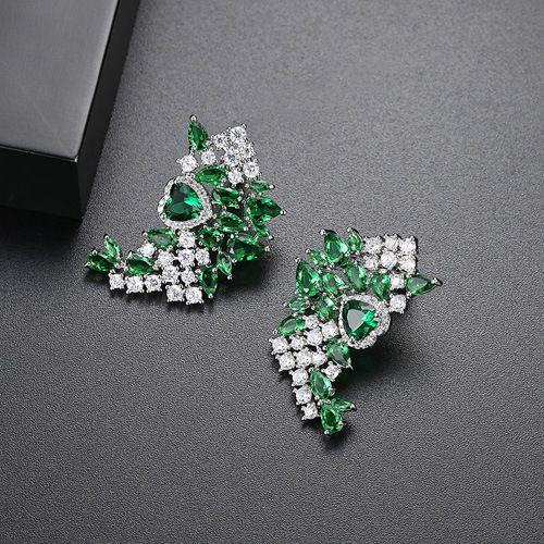 Alloy Fashion Geometric earring  (Green-05E16) NHTM0276-Green-05E16