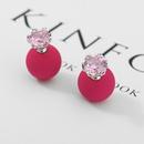 Alloy Korea Geometric earring  Light pink beads + platinum NHTM0250Lightpinkbeadsplatinum