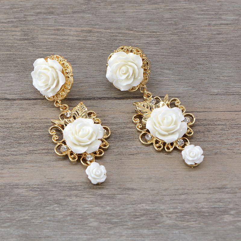 Alloy Fashion Flowers earring  (white) NHNT0562-white
