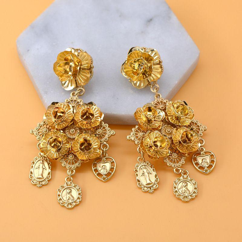 Alloy Vintage Flowers earring  Alloy NHNT0575Alloy