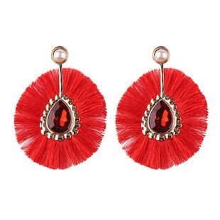 Plastic Fashion Tassel earring  (red) NHJQ10507-red's discount tags