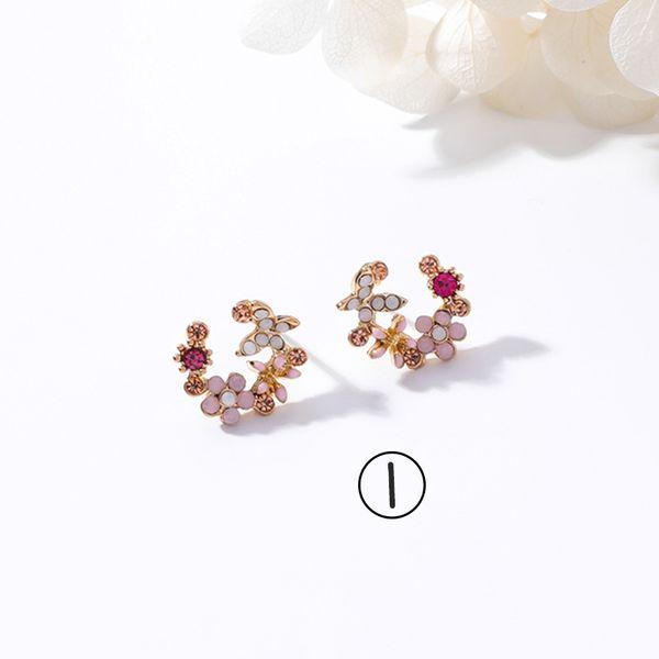 Alloy Korea Flowers earring  (1) NHMS1020-1