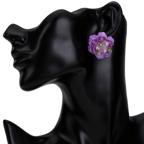 Plastic Fashion Flowers earring  (purple) NHJE1680-purple's discount tags