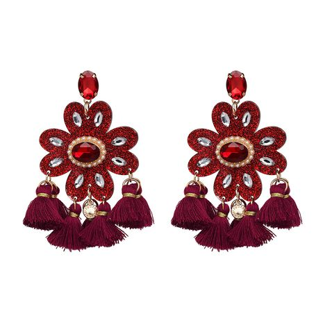 Plastic Fashion Flowers earring  (red) NHJJ4926-red's discount tags