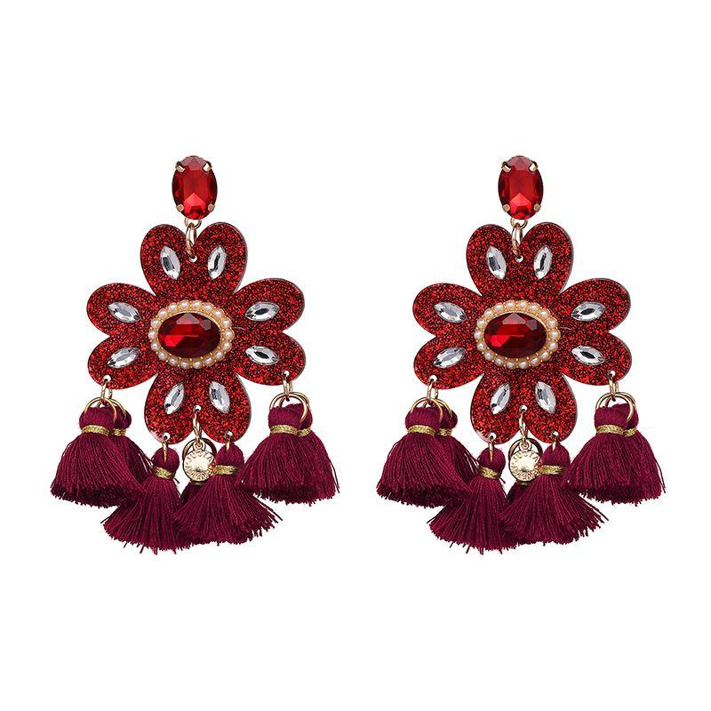 Boucle d39oreille en plastique Fashion Flowers rouge NHJJ4926rouge