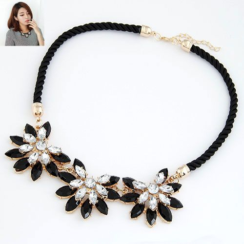 Dazzling flower pave setting leather cord necklace ( black ) 213679