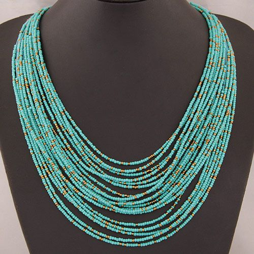 Occident fashion easy match Bohemian beads multi-layer necklace ( blue ) 219807