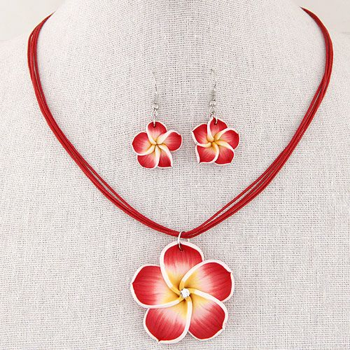 Rich flowers wax rope necklace Earring Sets NHNSC1303