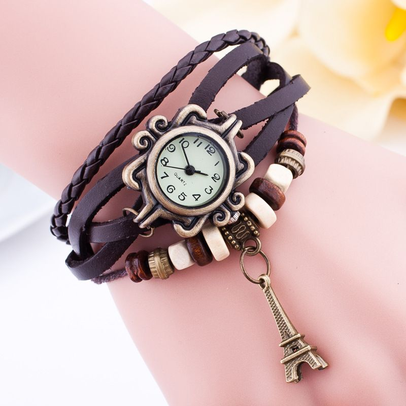 Leisure Ordinary glass mirror alloy watch (Dark brown) NHSY0140