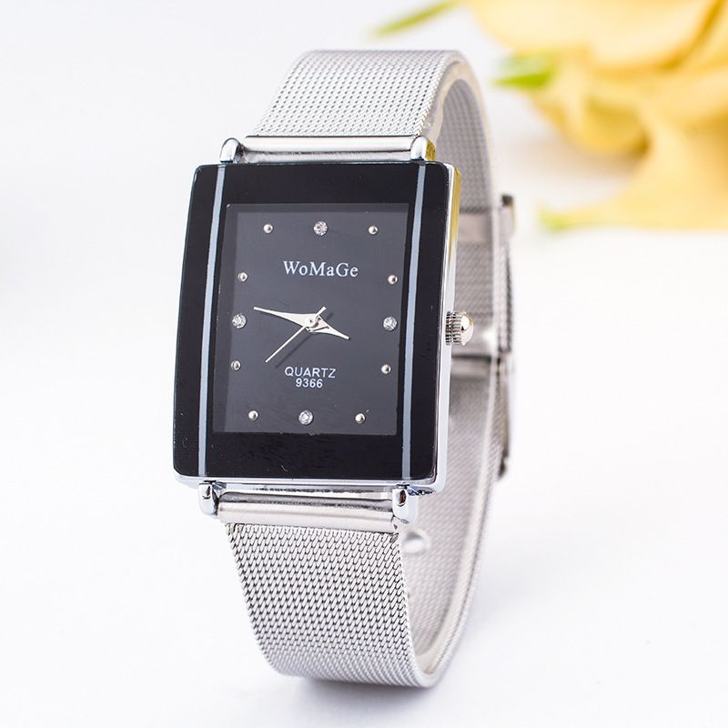 Leisure Ordinary glass mirror alloy watch (black) NHSY0277