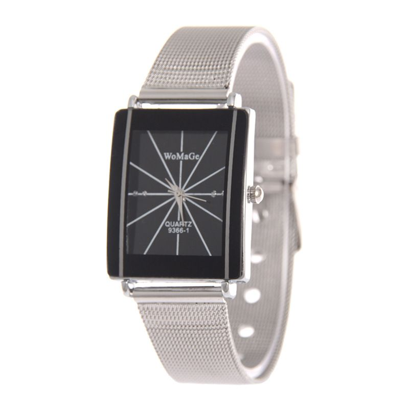 Leisure Ordinary glass mirror alloy watch (black) NHSY0648