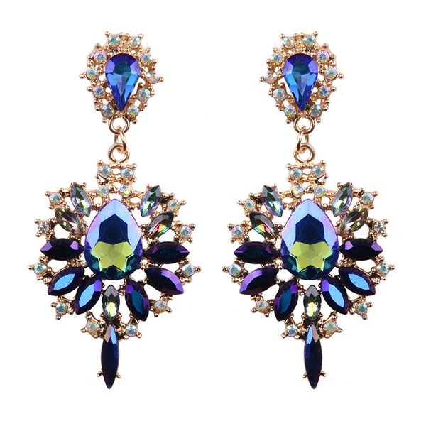 Occident and the United States alloy Rhinestone earring (Blue color)  NHJQ8207