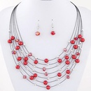 Korean   Bohemian imitated crystal beads necklace earrings mix multilayer Set NHNSC2503