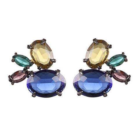 Alloy Fashion Geometric earring  (Gun Black + Blue) NHTF0647-Gun-Black-Blue's discount tags