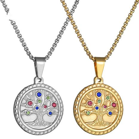 Titanium&Stainless Steel Simple Flowers necklace  (Steel color) NHHF0867-Steel-color's discount tags
