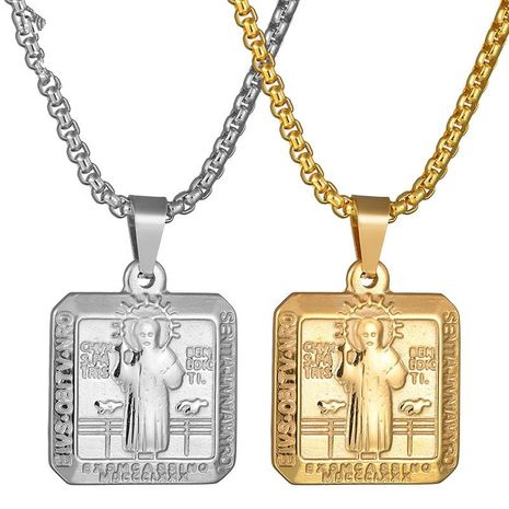 Titanium&Stainless Steel Punk Cartoon necklace  (Steel color M) NHHF0874-Steel-color-M's discount tags