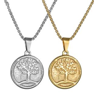 Titanium&Stainless Steel Simple Flowers necklace  (Steel color) NHHF0884-Steel-color's discount tags
