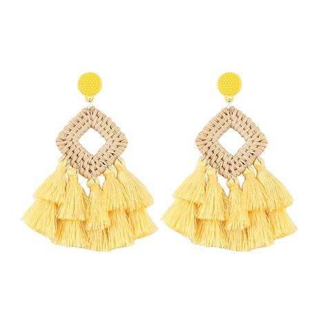 Alloy Bohemia Tassel earring  (yellow) NHJQ10553-yellow's discount tags