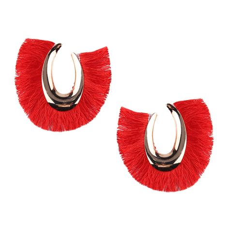 Cloth Fashion Tassel earring  (red) NHJQ10575-red's discount tags