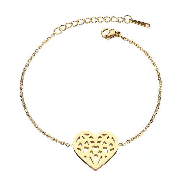 Titanium&Stainless Steel Simple Sweetheart bracelet  (Steel color) NHHF0907-Steel-color