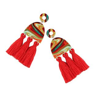 Plastic Fashion Tassel earring  (red) NHJQ10602-red's discount tags