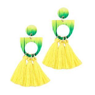 Plastic Fashion Tassel earring  (yellow) NHJQ10603-yellow's discount tags