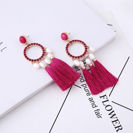 Alloy Fashion Tassel earring  (Red-1) NHQD5479-Red-1's discount tags