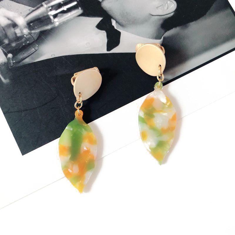 Plastic Fashion Geometric earring  green NHOM0785green