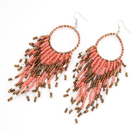 Occident fashion  Bohemian style bead tassel earrings pink 204829