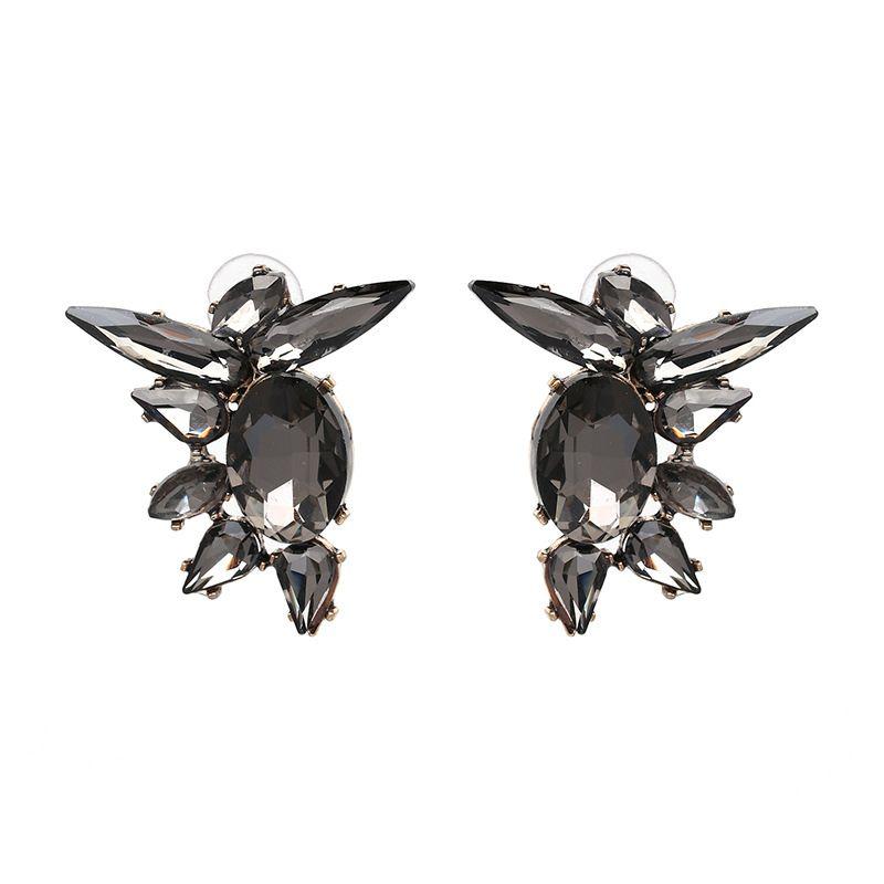 Imitated crystal&CZ Fashion Geometric earring  (gray) NHJJ4989-gray