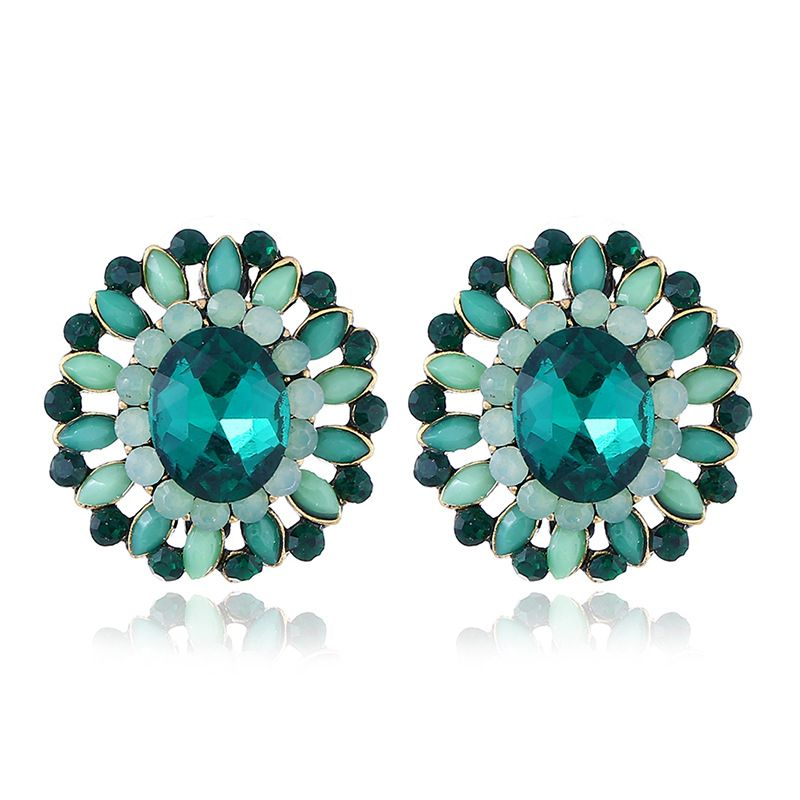 Alloy Simple Geometric earring  (Ancient alloy green) NHKQ1776-Ancient-alloy-green