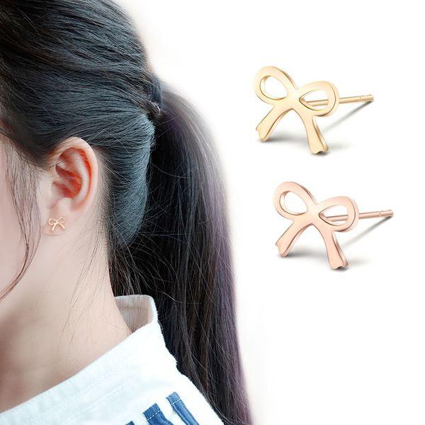 Titanium&Stainless Steel Simple Bows earring  (Rose alloy) NHOK0009-Rose-alloy